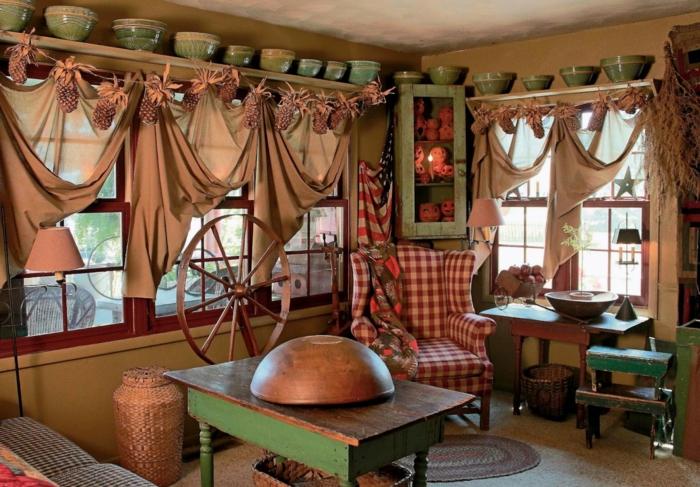 Landhaus gardinen kuche