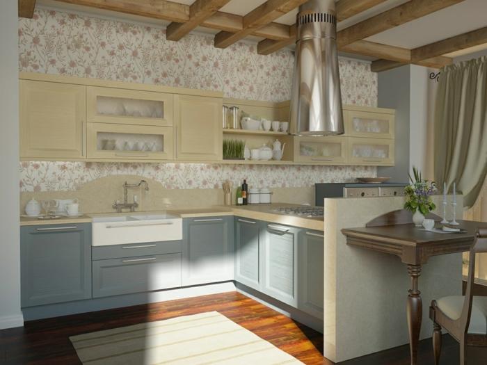räumliche-Küche-Landhausstil-romantische-retro-tapeten