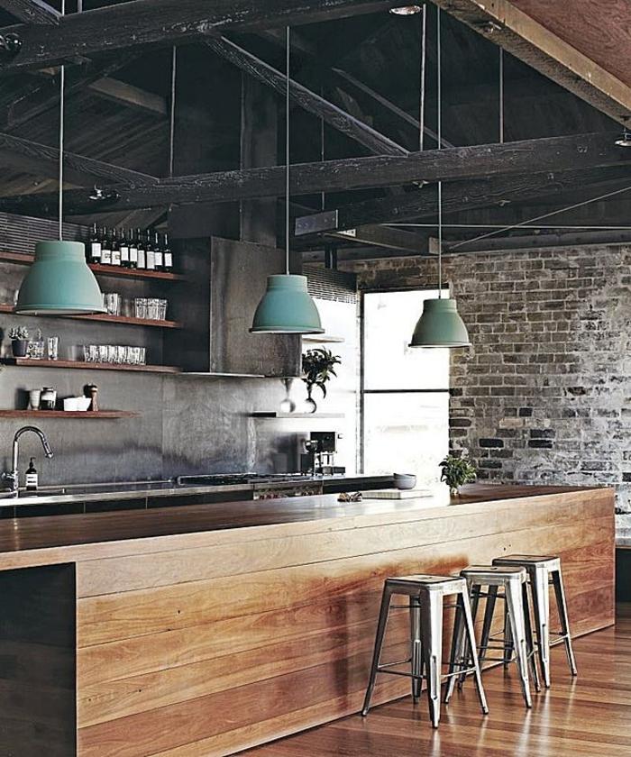 räumlicher-Bar-Barhocker-schöne-Designer-industrielle-Lampen-türkis-Farbe