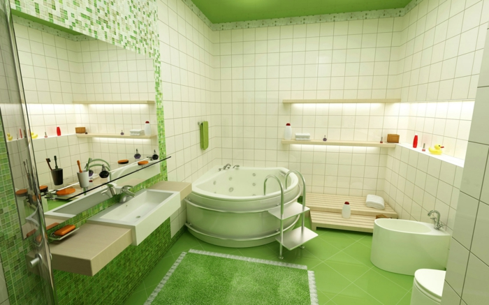 räumliches-Badezimmer-grüner-Boden-Zimmerdecke-bunte-Fliesen-halbrunde-Badewanne-Accessoires