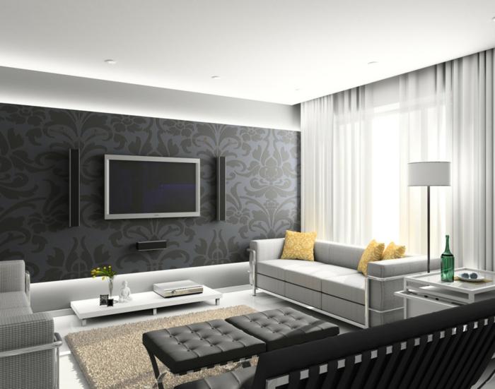 räumliches-Wohnzimmer-stilvolle-Möbel-Fernseher-Buddha-Figur-gelbe-Kissen-leseleuchte