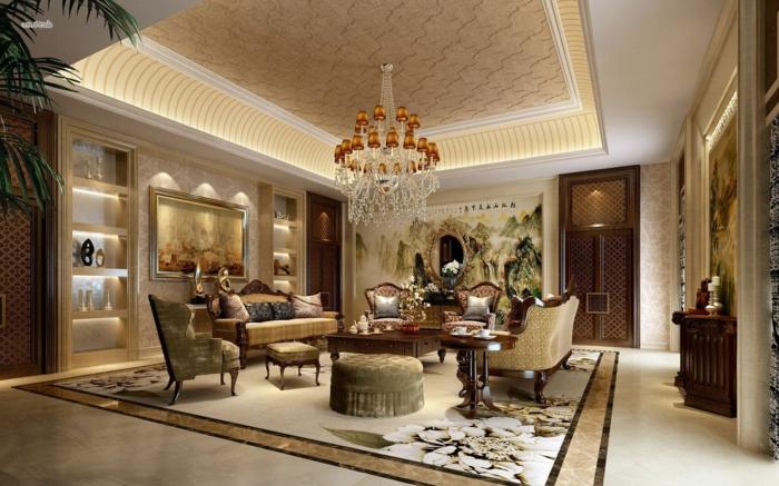 räumliches-Wohnzimmer-vintage-Tapeten-großartiger-Kronleuchter-Wandbilder-stilvolle-Möbel