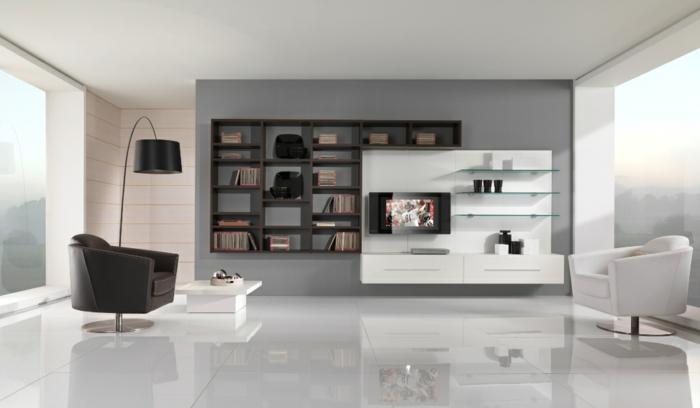 raumgestaltung-wohnzimmer-graue-wände-weißer-schrank