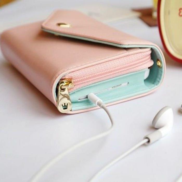 rosa-Geldbörse-multifunktional-Handy-Geld