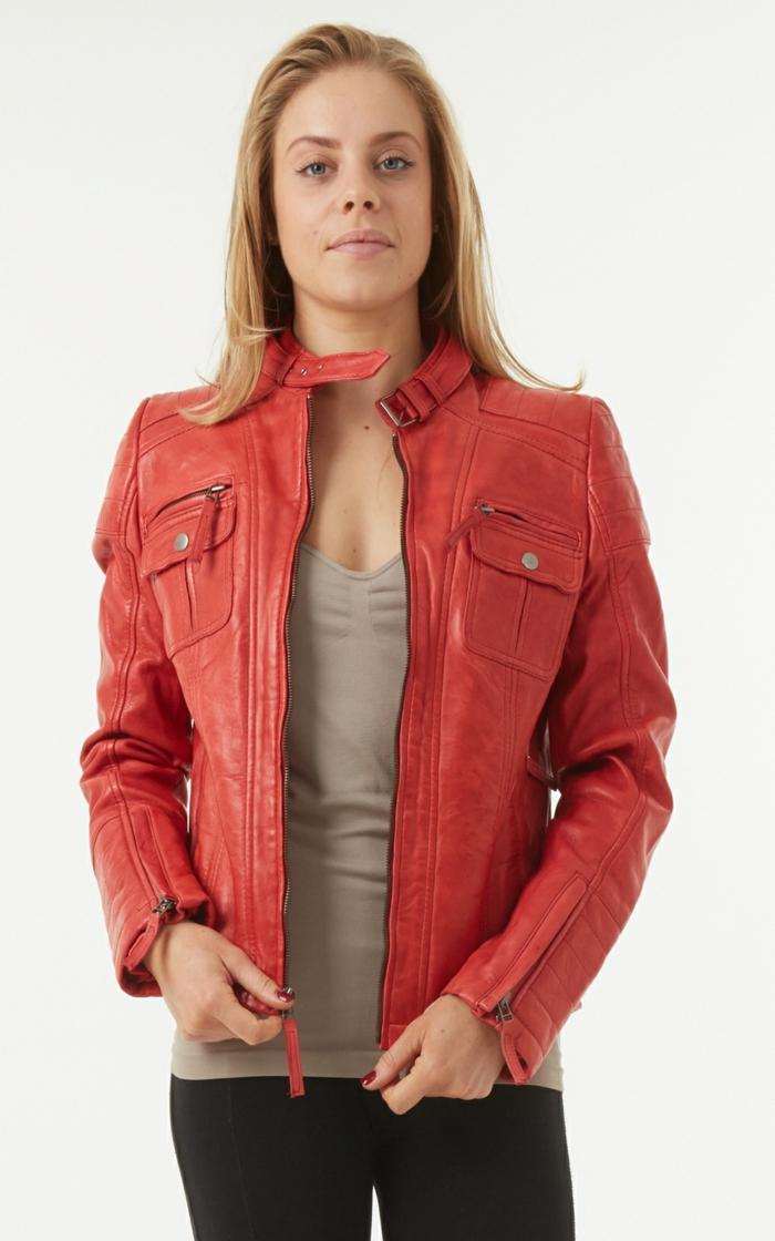 womens red leather biker jacket mara