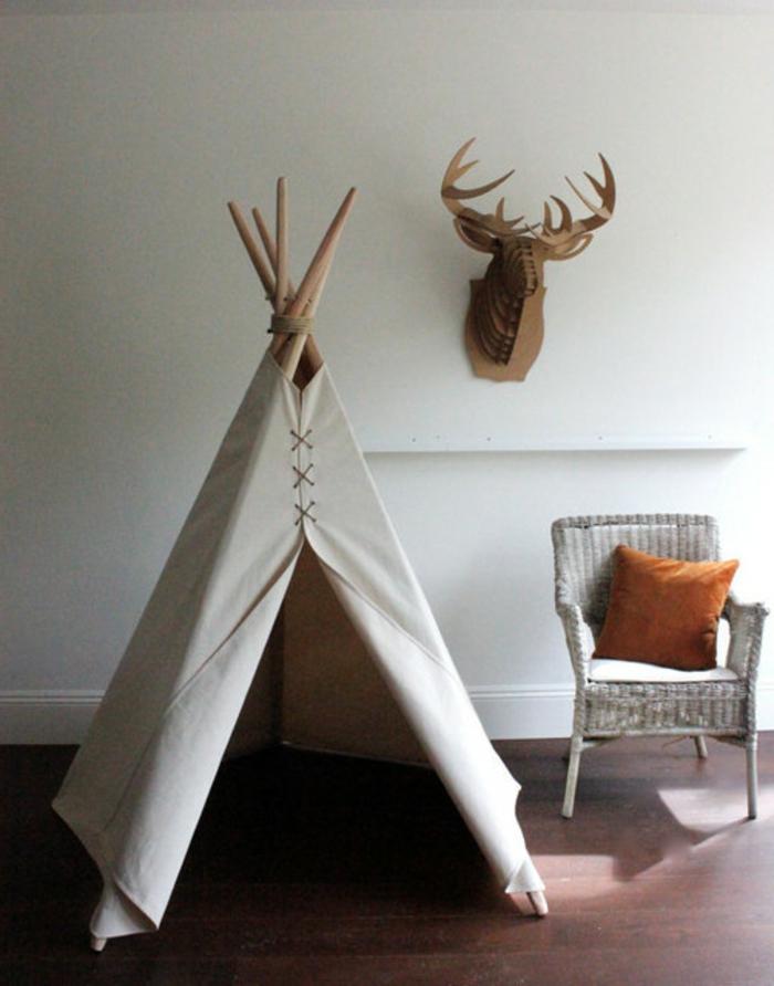 rustikale-Kinderzimmer-Gestaltung-Zelt-aus-Textil-Boho-Stil