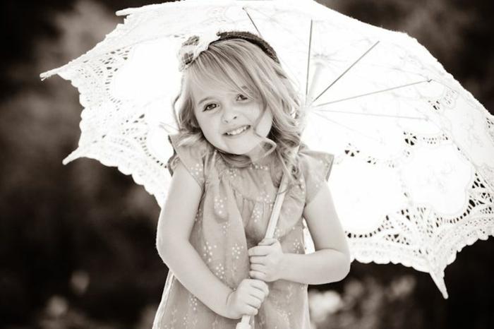 süßes-Mädchen-romantisches-Modell-Schirm