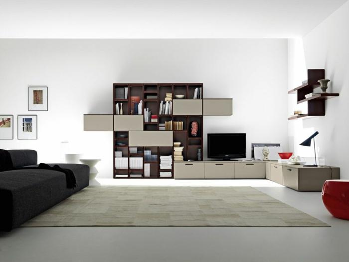 Schöne Wohnzimmer Idee Kontrastierende Farben Mischen