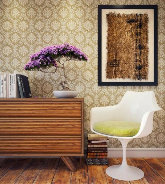 schönes-Interieur-vintage-und-moderne-Möbel-interessante-Wanddekoration-retro-tapete