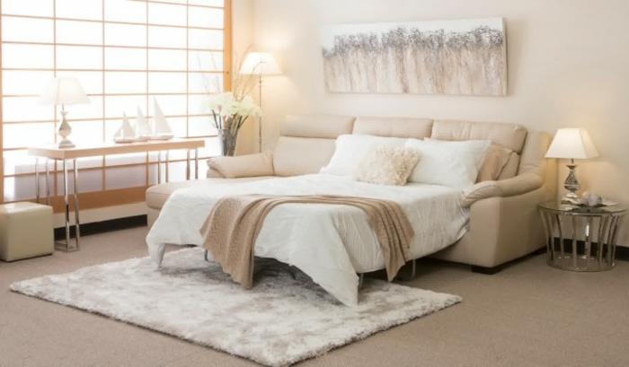 Schnes Wohnzimmer Interieur Helle Farben Quadratischer Weisser Teppich