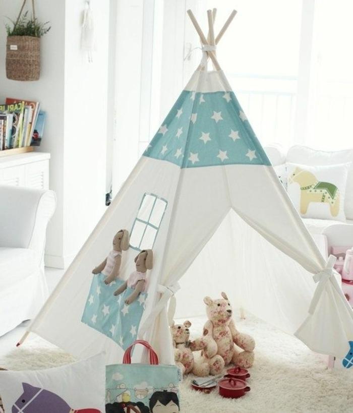 schönes-Zelt-im-Kinderzimmer-Plüschtiere-süße-Gestaltung