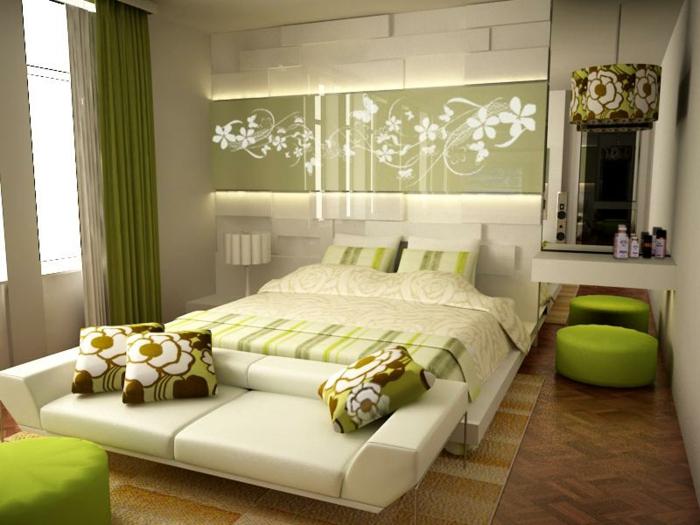 schlafzimmer-deko-ideen-modernes-bett-grüne-hocker