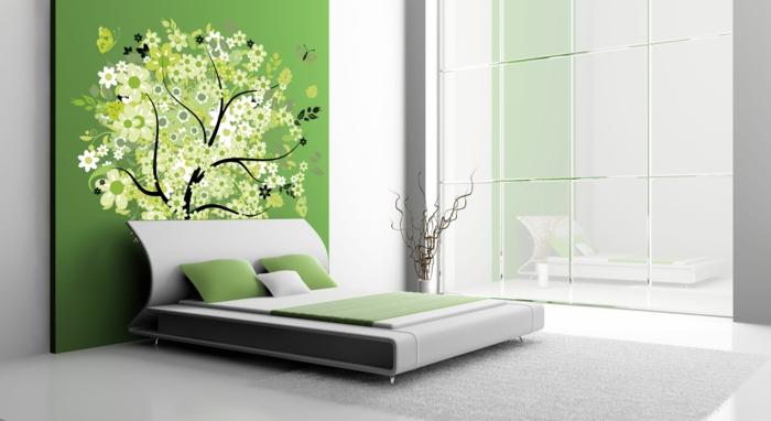 schlafzimmer-einrichtungsideen-weiße-wände-blumen-motive