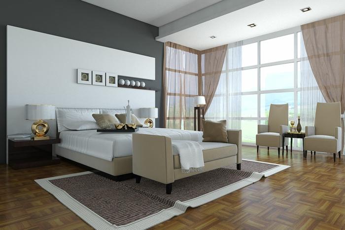 schlafzimmer-gestalten-ideen-weiße-akzentwand-hinter-dem-bett