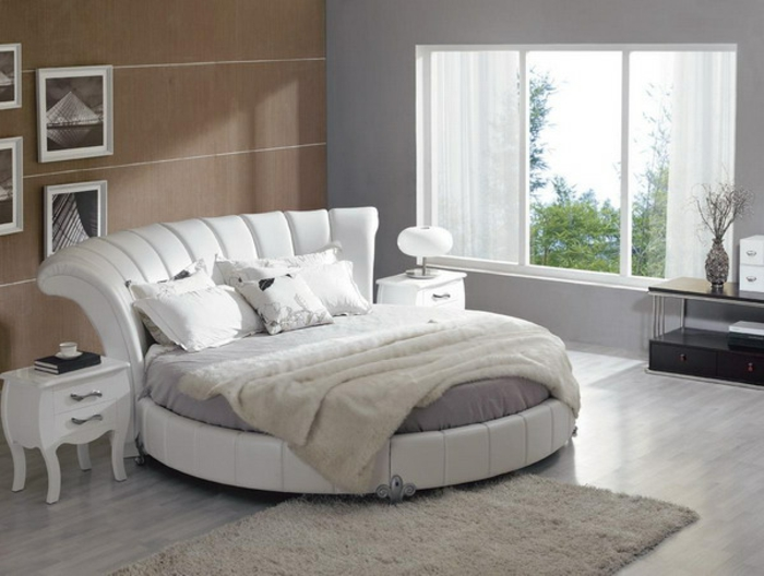 Kleines Schlafzimmer Neu Gestalten : schlafzimmer-gestalten-ideen-weißes-rundes-bett