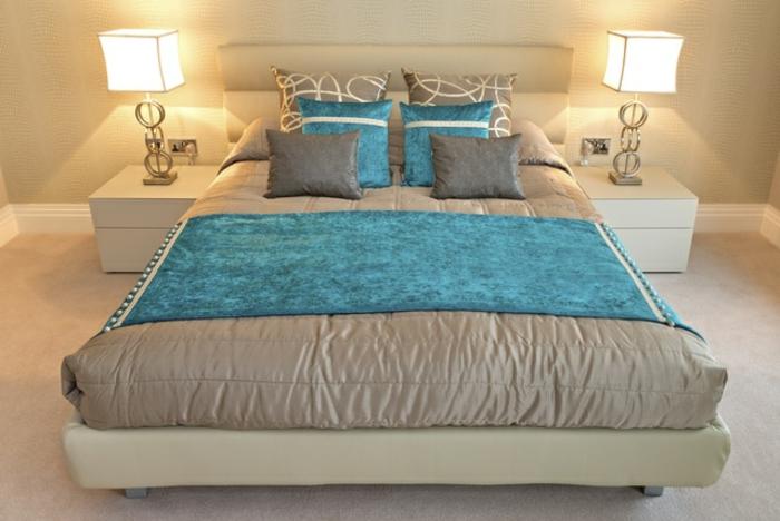 super wohnraumgestaltung im schlafzimmer - bett türkis
