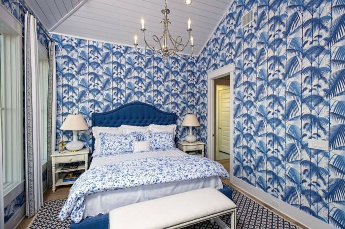 schlafzimmer-wandfarbe-taubenblau-moderne-wände-bemalen