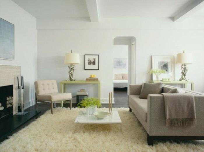 schlichtes-Wohnzimmer-Interieur-graues-Sofa-flaumiger-weisser-Teppich-Kamin