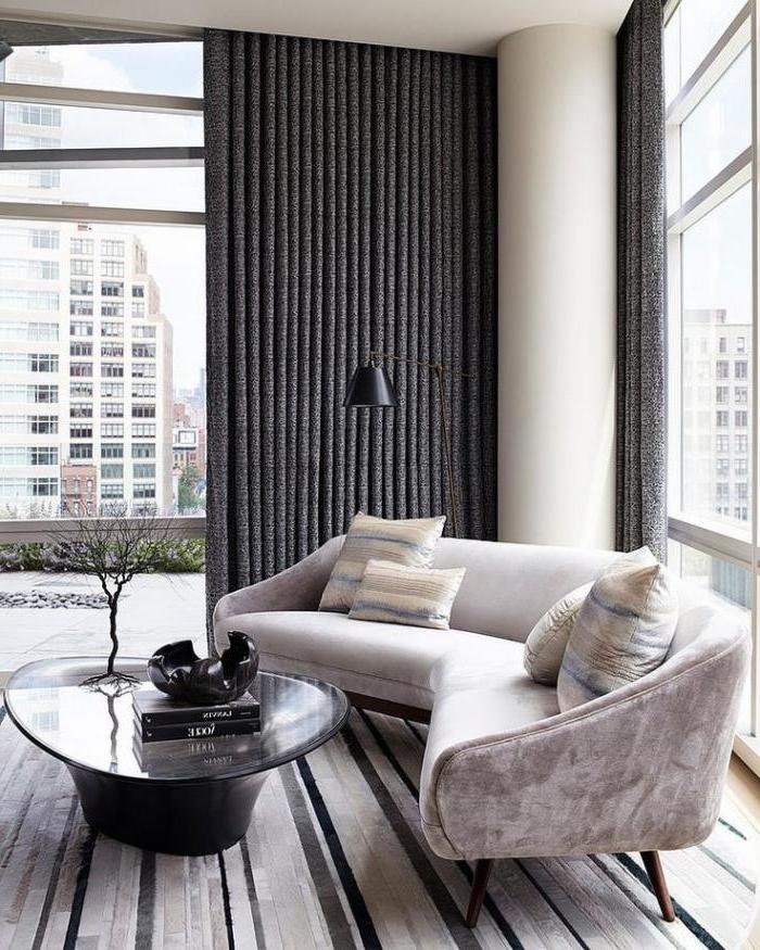 schlites-Interieur-halbrundes-Sofa-grau-Samt-bequemes-Modell