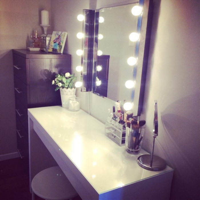 Makeup Desk With Mirror And Lights Ikea  Thousands Pictures Of Home