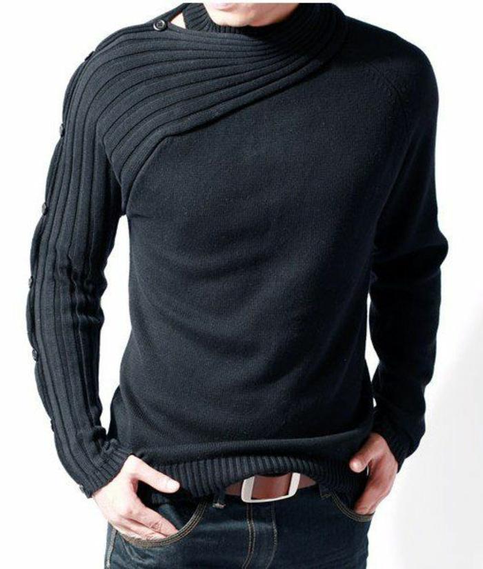 schwarzer-Pullover-Herren-asymetrisches-Modell