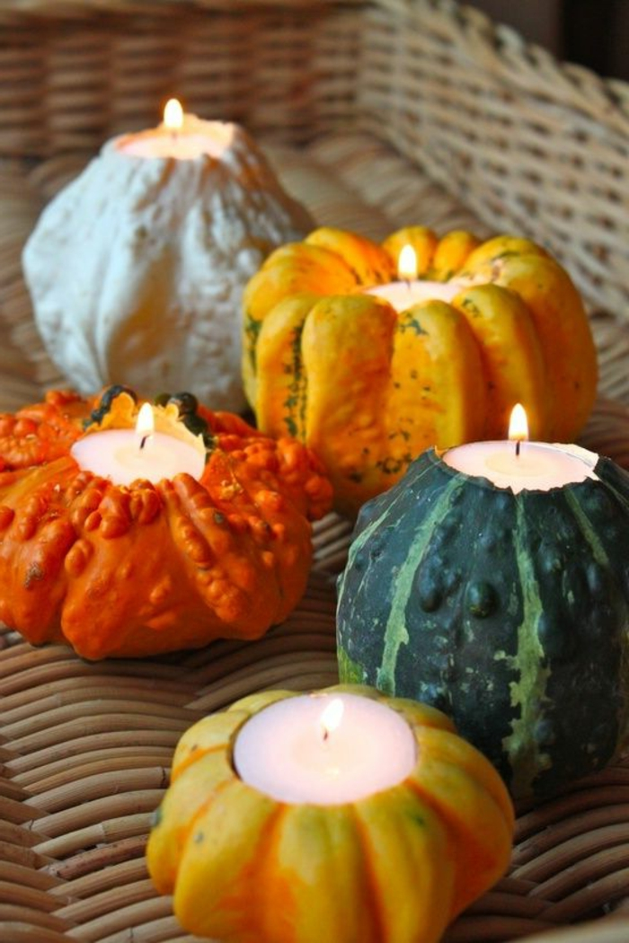 selber-basteln-winter-Dekoration-dekorative-Kerzen-Kürbisse-verschiedene-Farben