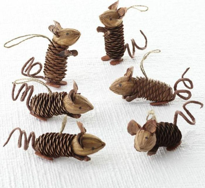 selber-basteln-winter-Dekoration-hölzerne-Mäuser-Zapfen-Körper