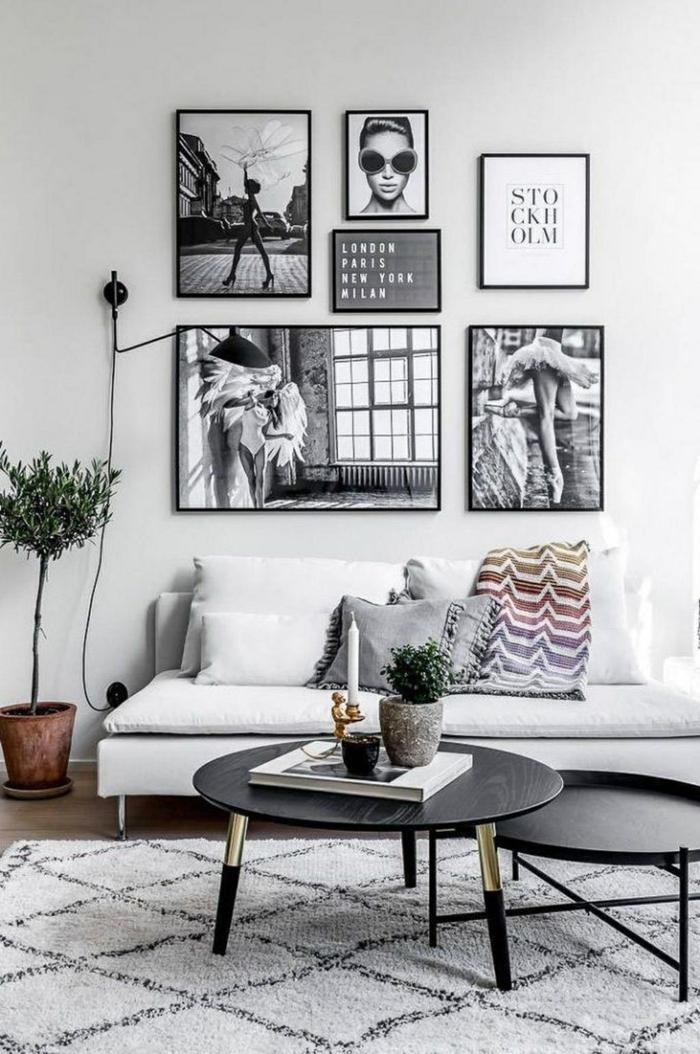 Komposition von sechs Bilder an die Wand, Außergewöhnliche Bilder, dekorativer Baum, moderne Bilder