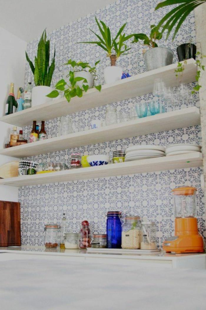 skandinavisches-Küchen-Interieur-Küchen-Tapeten-mit-romantischem-Muster