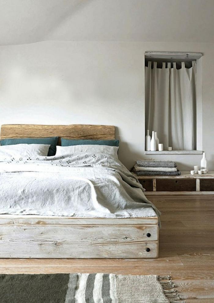 Skandinavisches Schlafzimmer Interieur Rustikale Elemente Bett  Aus Europaletten