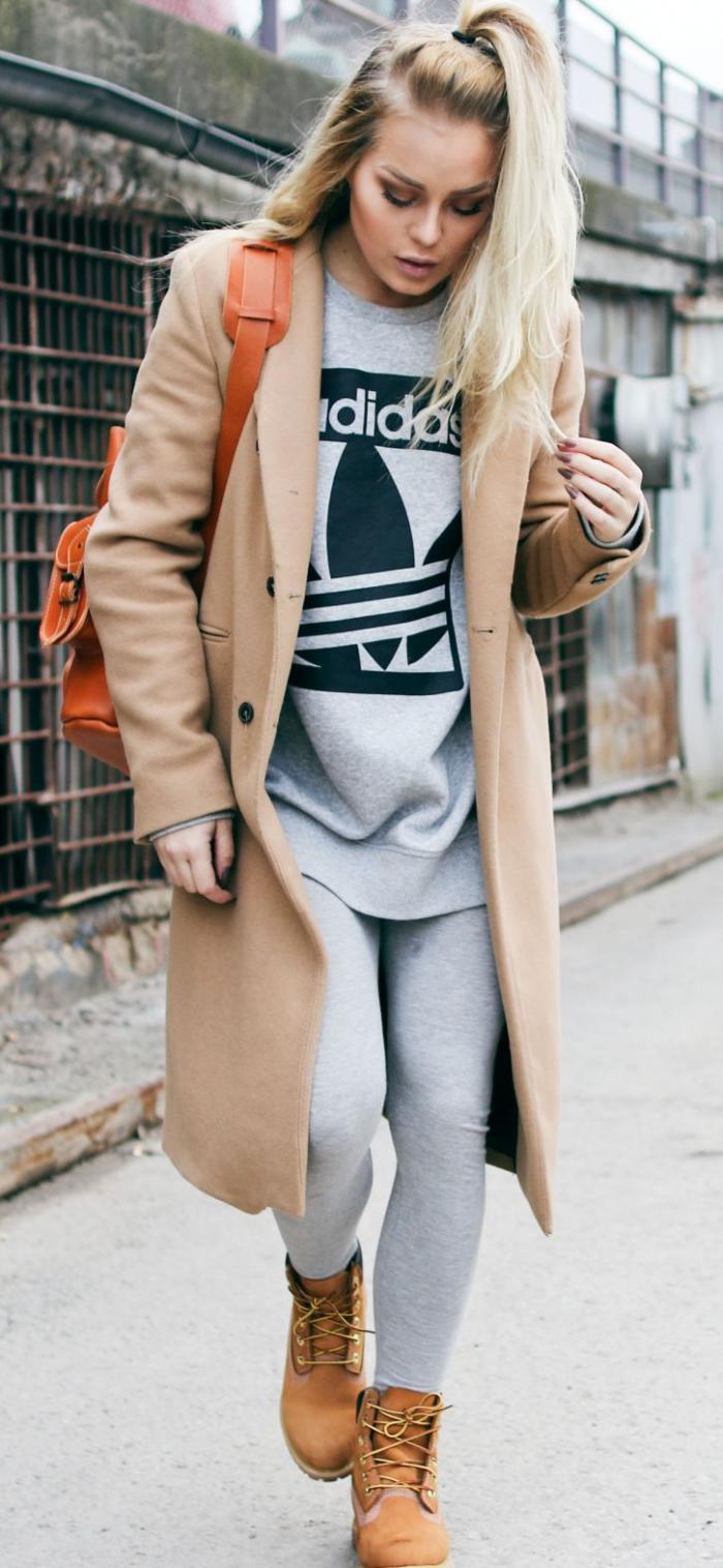 sportliche-Vision-Leggings-männliche-Schuhe-langer-wintermantel-Karamell-Farbe