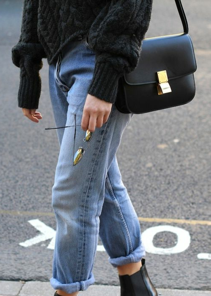 stilvolle-Vision-retro-Modell-Jeans-maxi-Pullover-elegante-Tasche