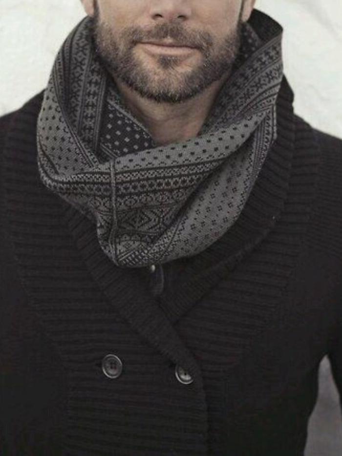 stilvoller-loop-schal-Männer-grau-schwarz-Strickjacke
