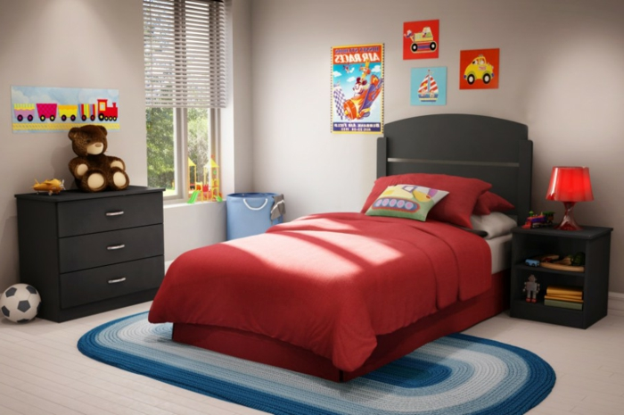 tolle-wandfarbe-rot-jugendzimmer-streichen-trendfarbe-des-bettes