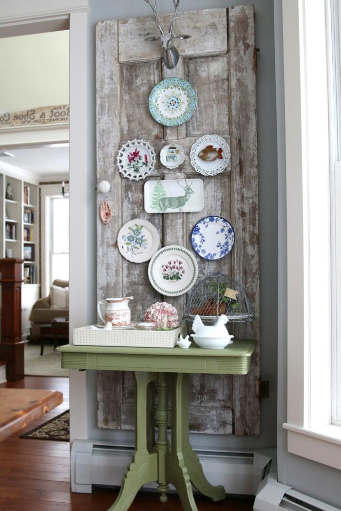 vintage-Ecke-Teller-Porzellan-kleiner-Tisch