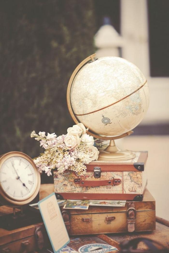 vintage-Sachen-Globus-Koffer-Dekoartikel