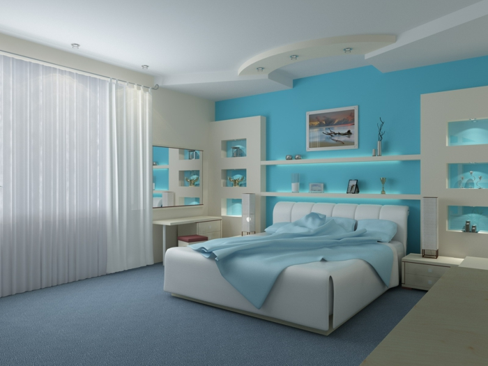 wände-bemalen-schlafzimmer-hellblau-wandfarbe