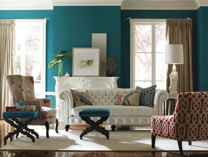 wände-farblich-gestalten-wohnzimmer-wandfarbe-taubenblau