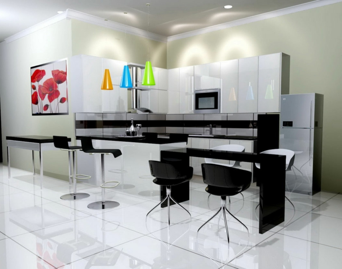 wände-streichen-muster-küche-schwarz-weiß