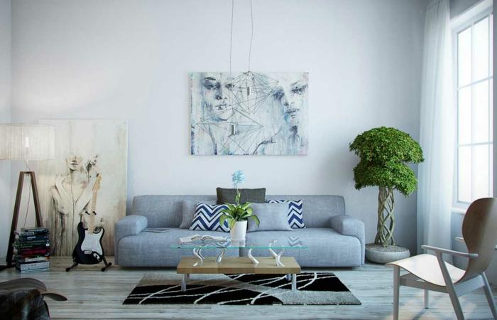 wandbilder-abstrakte-Kunst-Männer-Frauen-Gesichter-Graphik-weißes-Interieur