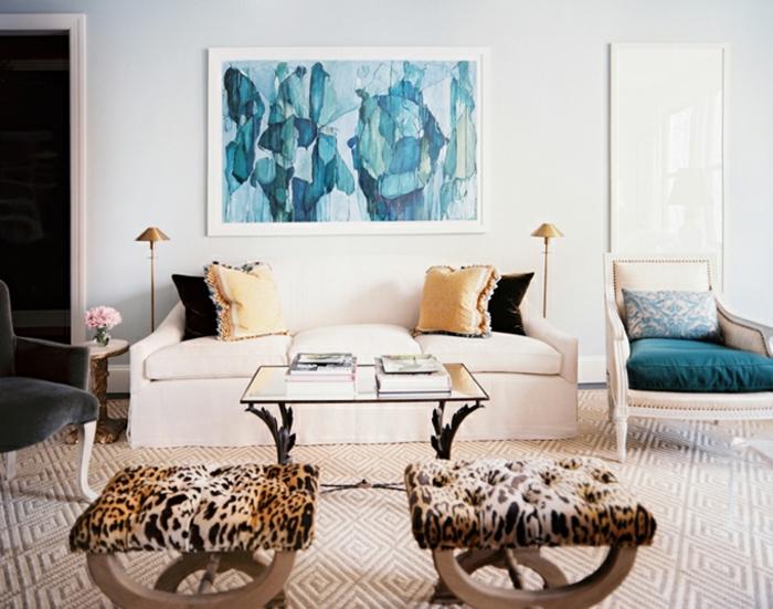 wandbilder-abstrakte-Kunst-aqua-nuancen-elegantes-Wohnzimmer-Interieur