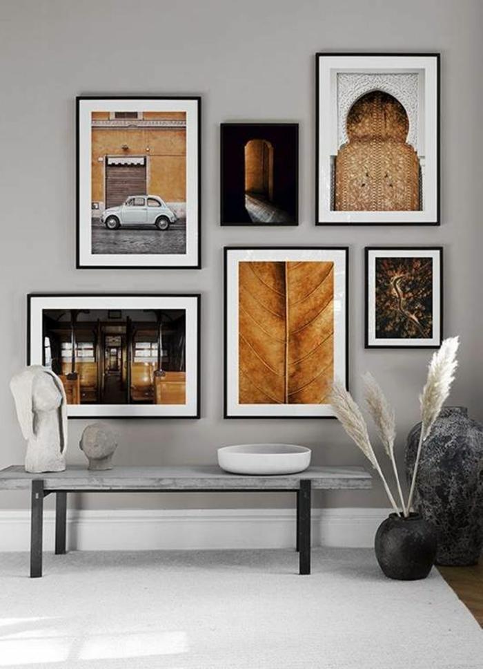 Komposition von sechs Bilder in ocker Töne, Wandbilder Wohnzimmer, Bilder mit Rahmen, Foto von einem weißen Auto