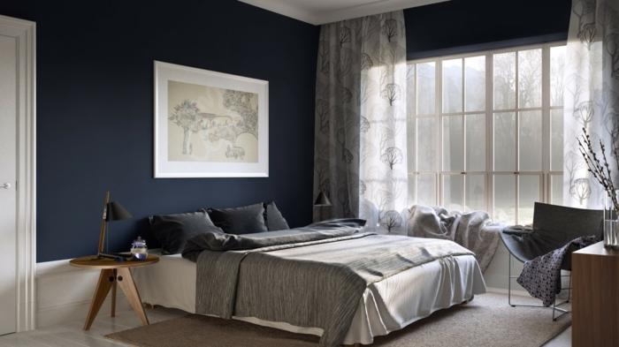 wandfarbe-ideen-schlafzimmer-wandfarbe-taubenblau