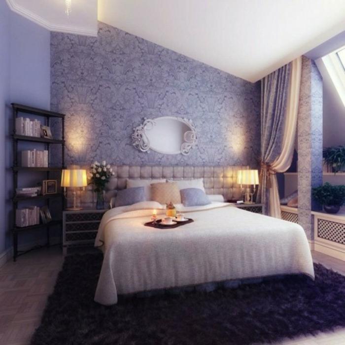 wandfarbe-lavendel-schönes-schlafzimmer-interessante-wohnraumgestaltung
