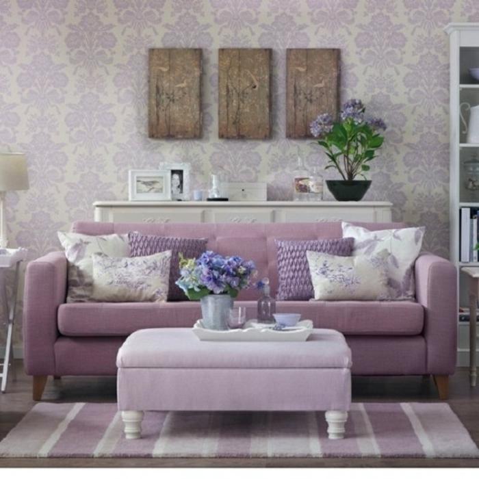 Wandfarbe Muster Lavendel Wohnzimmer Interessante Farbgestaltung