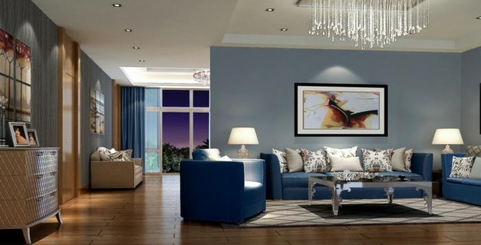wandfarbe-muster-wände-gestalten-mit-farbe-taubenblau-im-wohnzimmer