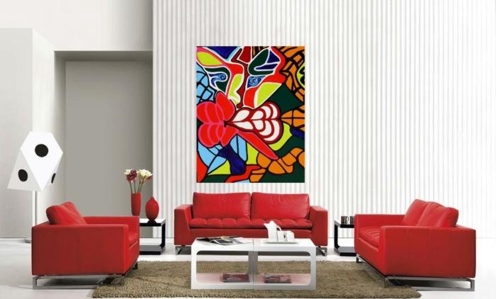 wandfarbe-rot-tolle-ideen-wohnzimmer-interessante-farbgestaltung-rote-möbel