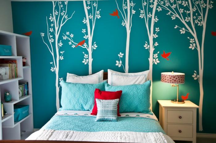 wandfarbe-schlafzimmer-türkis-tolle-streichen-ideen