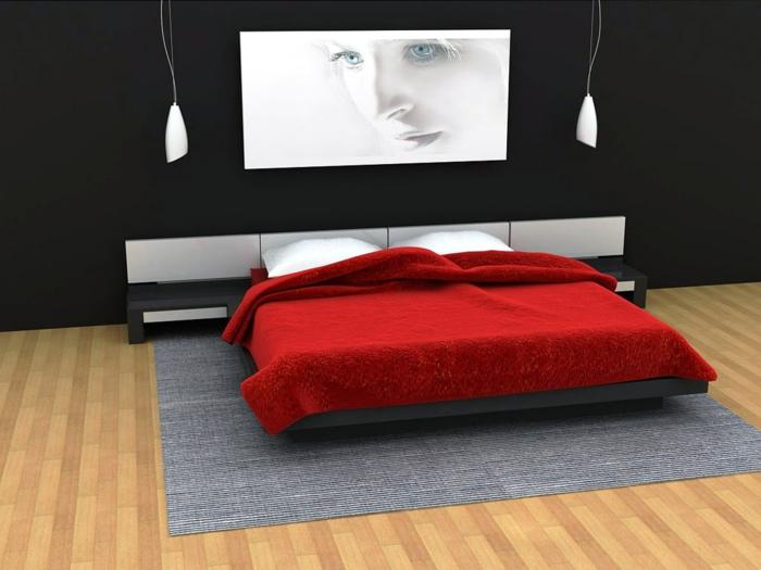 wandfarben-für-schlafzimmer-schwarz-weiße-streichideen-wände-bett-in-rot