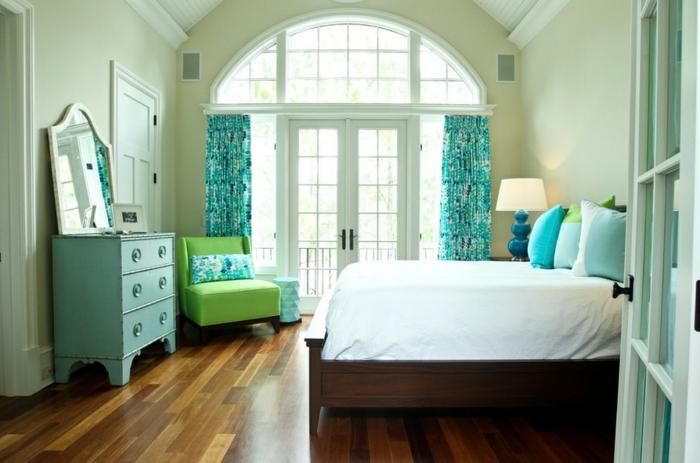 tolle wandfarbe türkis - schönes schlafzimmer